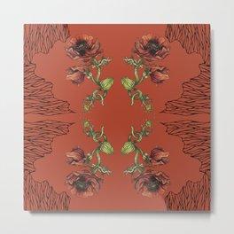 Fall Poppy Flower Metal Print