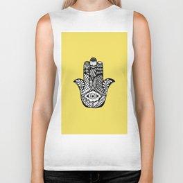 Hand Drawn Hamsa Hand of Fatima on Yellow Biker Tank