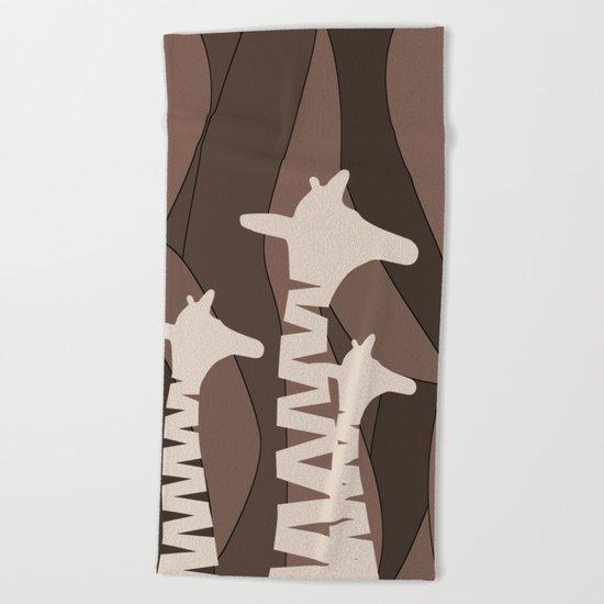 Abstract Giraffe Family Beach Towel