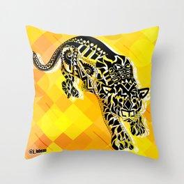jaguars in gold ecopop Throw Pillow