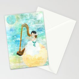 Harp girl: Music from the moon Stationery Cards