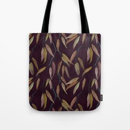 Eucalyptus leaves in autumn colors on plum violet Tote Bag