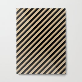 Tan Brown and Black Diagonal RTL Stripes Metal Print