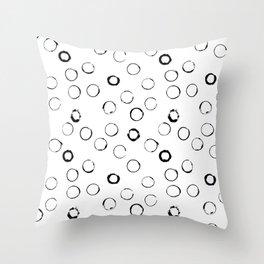 Black circles pattern Throw Pillow