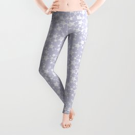 Block Printed Dusty Purple and White Stars Leggings