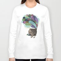house Long Sleeve T-shirts featuring birdhouse revisited by Laura Graves