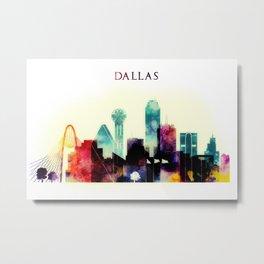 Dallas Texas City Skyline watercolor poster Metal Print