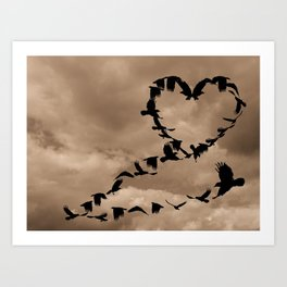 Heart of Crows (Birds) A276 Art Print