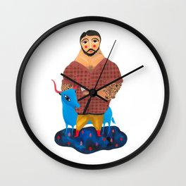 Paul Bunyan and Babe Wall Clock
