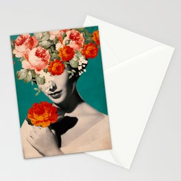 WOMAN WITH FLOWERS Stationery Cards
