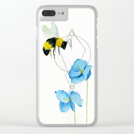 save the bees minimalist geometric watercolor Clear iPhone Case
