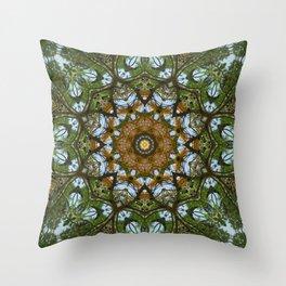 Yellow Tree Flower Kaleidoscope Art 5 Throw Pillow