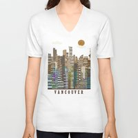 vancouver V-neck T-shirts featuring Vancouver skyline by bri.buckley