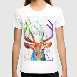 Red Deer Watercolor Grunge T-shirt