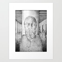 """""""The Father of History"""" - A bust of Herodotus in the Stoa of Attalos, Agora, Athens Art Print"""