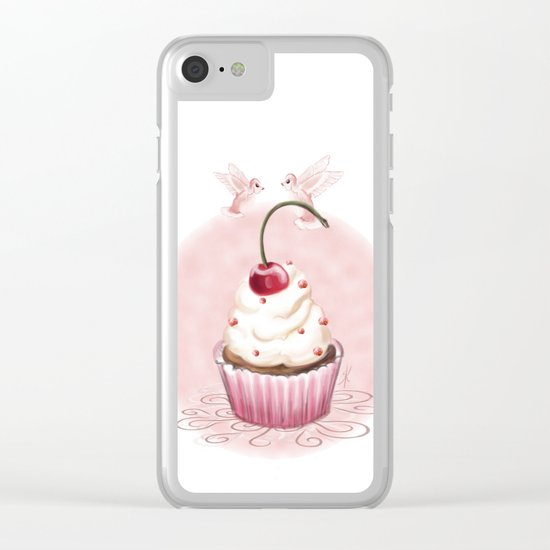 Cherry Cupcake Clear iPhone Case