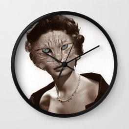 Collage Cat Face - Funny Digital Collage Art Wall Clock