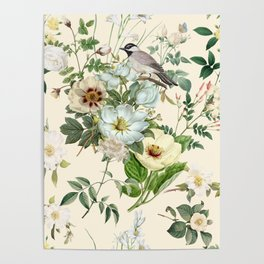 WEDDING BOUQUET OF WHITE FLOWERS WITH A SMALL BIRD  Poster
