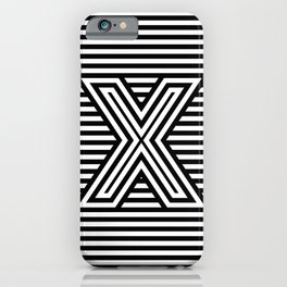 Track - Letter X - Black and White iPhone Case