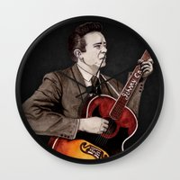 johnny cash Wall Clocks featuring Johnny Cash by Daniel Cash