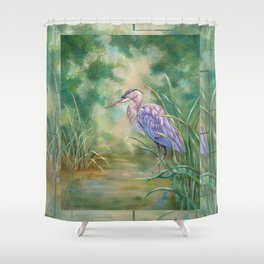 """""""Solitude"""" - Pastel of Great Blue Heron Shower Curtain"""