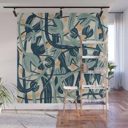 blue tangerine venus fly trap art print Wall Mural
