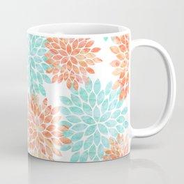 aqua and coral flowers Coffee Mug