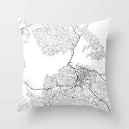 Auckland White Map Throw Pillow