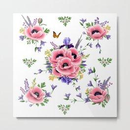 Artpilotage Poppies & Wildflowers Field Metal Print