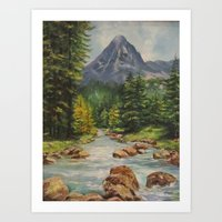 Landscape River and Mountains Art Print