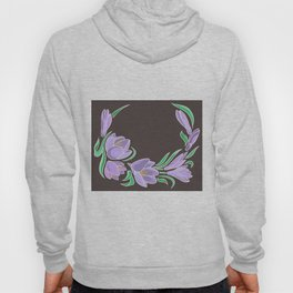 Abstract crocuses with grey background Hoody