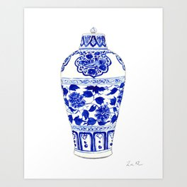 Blue and White China Ginger Jar 1 Art Print