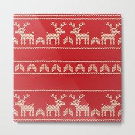 RED CHRISTMAS DEERS Metal Print