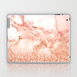 Sparkly Peach Copper Rose Gold Ombre Bohemian Marble Laptop & iPad Skin