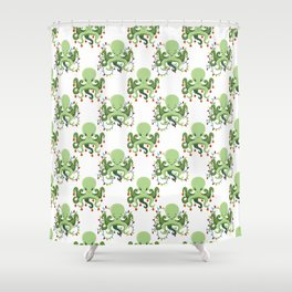 Festive Holiday Octopus Shower Curtain