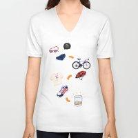 sport V-neck T-shirts featuring Sport - Triathlon by BlandinePannequin