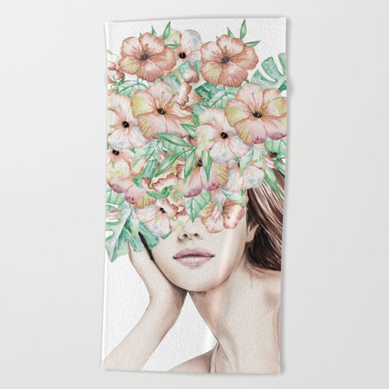 She Wore Flowers in Her Hair Island Dreams Beach Towel