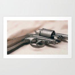 Ancient revolver. Old gun. Art Print