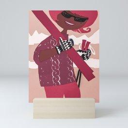 Mod Girl Skier, Retro Vintage Ski Poster Mini Art Print