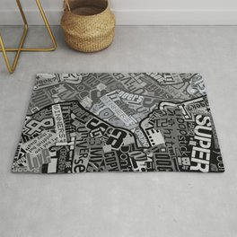 Black and White Typography Collage Rug