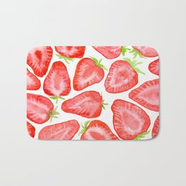 Watercolor strawberry slices pattern Bath Mat