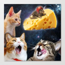 Cats and the mouse on the cheese Canvas Print