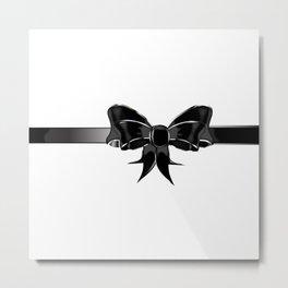 Black Silk Bow Metal Print