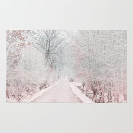The Winter Road in the Suburb. Rug