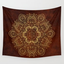 Gold Flower Mandala on Red Textured Background Wall Tapestry