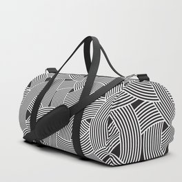 Modern Scandinavian B&W Black and White Curve Graphic Memphis Milan Inspired Duffle Bag