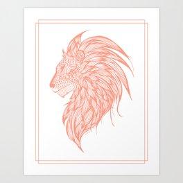 Coral Lion Illustration Art Print