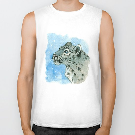 Snow Leopard & snowflakes 860 Biker Tank
