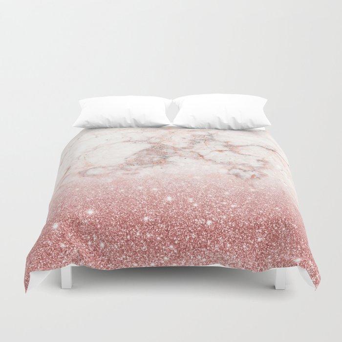 Elegant Faux Rose Gold Glitter White Marble Ombre Duvet