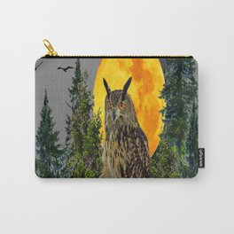 OWL WITH FULL MOON & PINE TREES GREY ART Carry-All Pouch
